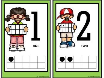 Ten Frame (0-10); Light Green Cute Kids Ten Frame