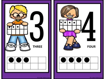 Ten Frame (0-10); Purple border Cute Kid Ten Frame