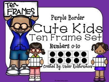 Ten Frame (0-10); Purple border Cute Kid Ten Frame