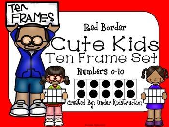 Ten Frame (0-10); Red Border Cute Kids Ten Frame