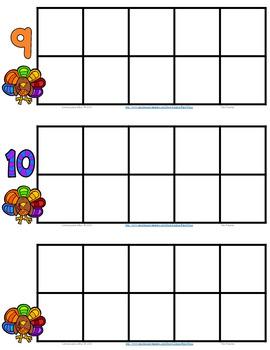 Ten Frame 0-10 Thanksgiving Turkey FREEBIE