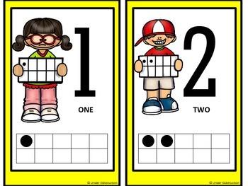 Ten Frame (0-10); Yellow border Cute Kids Ten Frame