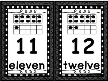 Ten Frame 0-20 Number Card Posters