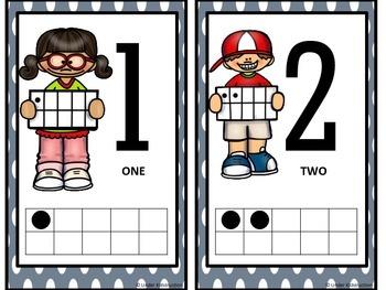 Ten Frame (1-10); Grey and White Polka Cute Kids Ten Frame