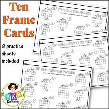 Ten Frame Activities ● Pumpkin Wipe It Cards ● Numbers 1-20