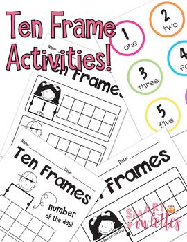 Ten Frame Activity 1-10 Ten Frame, 1-20 Math Flashcards & Activities for Pre-k K