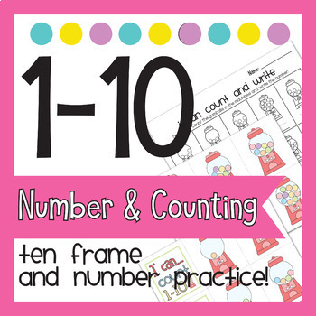 Math Activity 1-10 Ten Frame Counting and Practice for Pre-k K - Cute Gumball