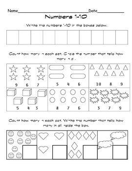 Ten Frame Activity Set for Numbers 1-10