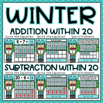 Ten Frame Adding Center: Addition to 20 Task Cards for 1st Grade Differentiated