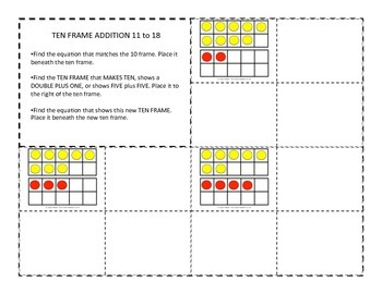 Ten Frame Addition 11-18 Two-Color Counter Matching Game