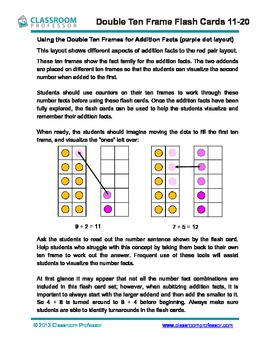 Ten Frame Addition Flash Cards to 20