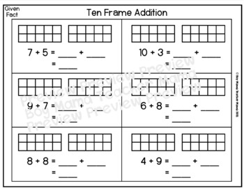 Ten Frame Addition Game with Practice Sheets