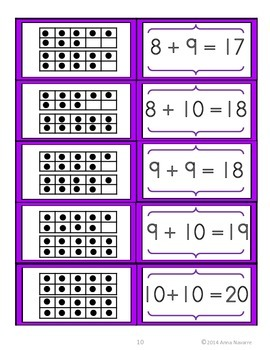 Ten Frame Addition Matching Cards