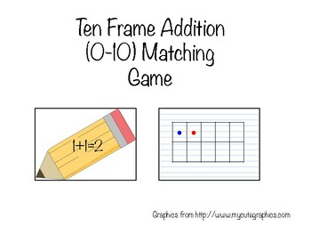 Ten Frame Addition Matching Game