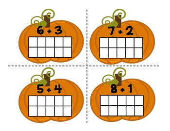 Ten Frame Addition Pumpkins! (*Use candy corn counters!*)