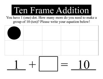 Ten Frame Addition with Missing Addend Charts - Common Core