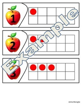 Apple Ten Frames - Number Sense, Recognition, Correspondence