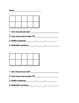 Ten Frame Assessment Template