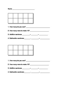 Ten Frame Assessment Template