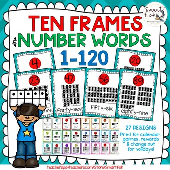 Ten Frame, Base Ten & Number Word Posters: 1-200+300-1,000 by 100 BUNDLE: TurRed