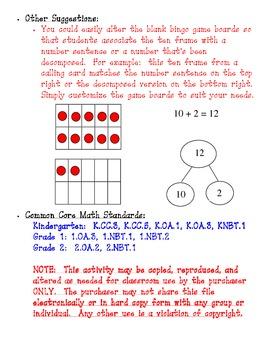 Ten Frame Bingo for Numbers 0 through 20