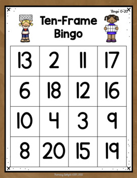 Ten Frame Bingo to 20
