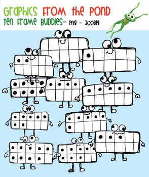 Ten Frame Buddies - Fun Ten Frames Clip Art