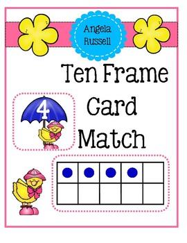 Ten Frame Card Match ~ Raindrops and Umbrellas