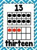 Ten Frame Cards 1-20  - Blue Chevron