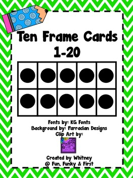 Ten Frame Cards 1-20  - Lime Green Chevron