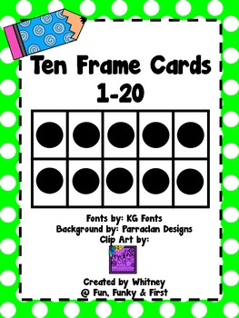 Ten Frame Cards 1-20  - Lime Green Polka Dot