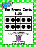 Ten Frame Cards 1-20  - Lime Green Polka Dot