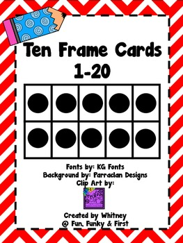 Ten Frame Cards 1-20  - Red Chevron