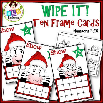 Ten Frame Cards● Christmas ● Number Cards 1-20 ● Write On