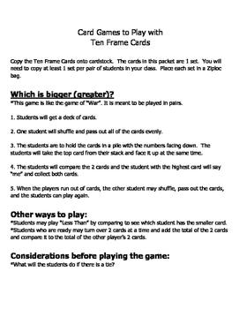 Ten Frame Cards & Games