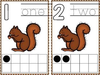Ten Frame Cards - Squirrel/Fall