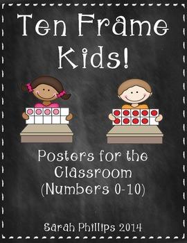 Chalkboard Themed Ten Frame Classroom Posters