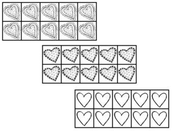 Ten Frame Clip Art *February* 0-10 heart Valentine Common Core Math