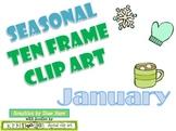 Ten Frame Clip Art *January* 0-10 snowflake mug mitten Common Core Math Aid