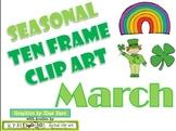 Ten Frame Clip Art *March* 0-10 leprechaun shamrock rainbow Common Core Math