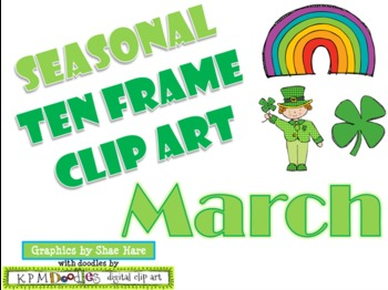 Ten Frame Clip Art *March* 0-10 leprechaun shamrock rainbow Common Core Math