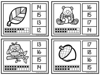 Ten Frame Clip Cards: Autumn Fun (Numbers 1-20)