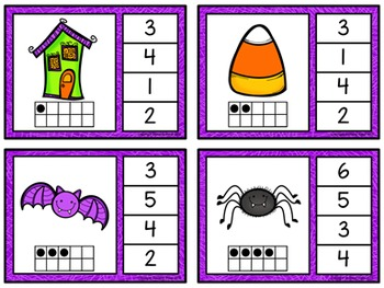 Ten Frame Clip Cards: Halloween (Numbers 1-20)