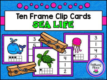 Ten Frame Clip Cards: Sea Life (Numbers 1-20)