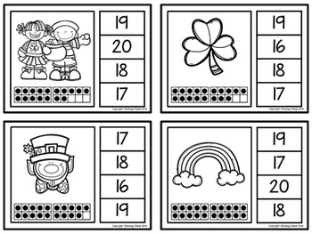 Ten Frame Clip Cards: St. Patrick's Day (Numbers 1-20)