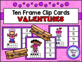 Ten Frame Clip Cards: Valentines (Numbers 1-20)