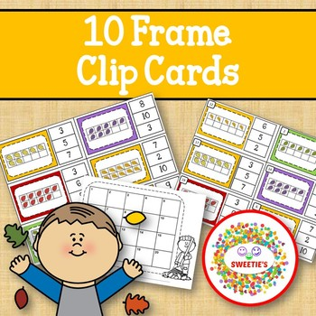 Ten Frame Clip Cards and Task Cards  - 1 to 20 - Autumn Leaves Theme
