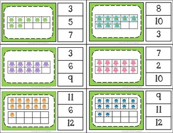 Ten Frame Clip Cards and Task Cards  - 1 to 20 - Monster Theme
