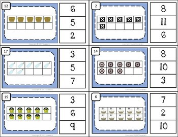 Ten Frame Clip Cards and Task Cards  - 1 to 20 - Pirate Theme