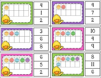 Ten Frame Clip Task Cards 1 to 20 Easter Theme